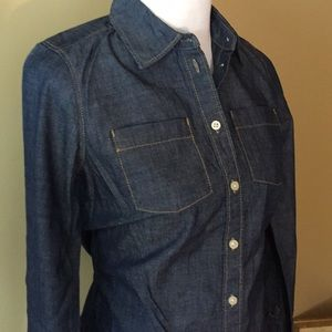 NAUTICA sz 6 Denim Jean Button Down Blouse $119new